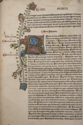 Illumiated initial from Flavio Biondo, Roma instaurata (Verona, 1482)